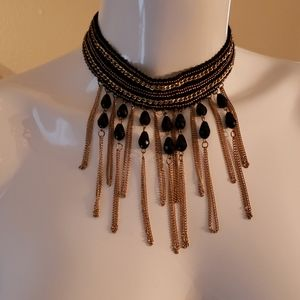 Vintage Black And Gold Choker